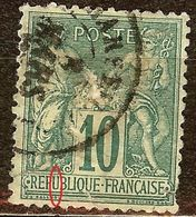 SAGE N°76 10c Vert N/U Oblitéré Cachet à Date - 1876-1898 Sage (Type II)