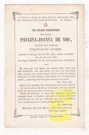 DP Paulina J. De Vos Devos ° Brugge 1816 † 1873 X Franciscus Jooris - Images Religieuses