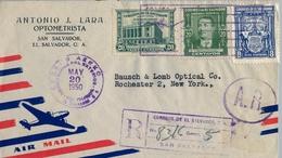 1950 , EL SALVADOR , SOBRE CERTIFICADO , SAN SALVADOR - ROCHESTER , CORREO AÉREO , TRÁNSITO , LLEGADA - El Salvador