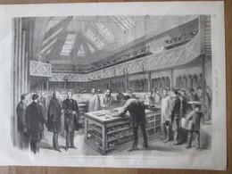 """Gravure  1872 L'empereur Du Brésil , Visitant Les Ateliers Du """" Moniteur Universel """" """"Monde Illustré """" , Imprimerie - Vecchi Documenti"""