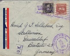 1936 , EL SALVADOR , SOBRE CIRCULADO POR VIA AÉREA , SAN SALVADOR - DUSSELDORF - El Salvador