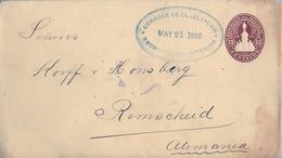 1905 , EL SALVADOR , SOBRE ENTERO POSTAL CIRCULADO , BANCO OCCIDENTAL SAN SALVADOR - REMSCHEID , LLEGADA - El Salvador