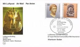 31164. Tarjeta FRANKFURT (Alemania Federal) 1984. Airbus  Luftpost. TUTANKAMON - [7] República Federal