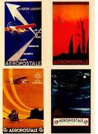Lot De 4 Cartes Postales Pré-timbrées - Avions
