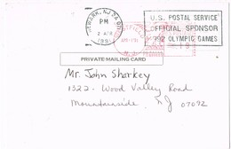 31165. Tarjeta Private Mailing  WESTFIELD (N.J.) 1991. Olympic Games 1992 Sponsor - United States