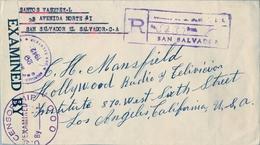 1942 , EL SALVADOR , SOBRE CERTIFICADO, SAN SALVADOR - LOS ANGELES , CENSURA , TRÁNSITO , LLEGADA , DECLARACIÓN FIRMADA - El Salvador