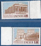 France  - Timbres De Service - Unesco 2 Timbres  MNH, Gomme Intacte, Temples Grece Acropolis Philae Temple Egypt - Archéologie