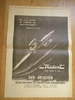 SUD AVIATION Avion De Chasse TRIDENT - Publicité D'époque : 1958 - Publicités
