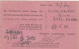 Carte Croix Rouge Réception Colis KZ KL Herzogenbusch Vught  01/1944 Camp Concentration - 1939-45