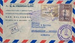 1935 , EL SALVADOR , SOBRE CIRCULADO , SAN SALVADOR - LEIPZIG , III JUEGOS DEPORTIVOS CENTROAMERICANOS, ATLETISMO - El Salvador