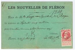Publiciteitskaart  Les Nouvelles De Fleron Via Herve Naar Beyne Heusay 1909 - Werbung