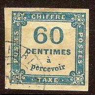 RARE TAXE CARREE N°9 60c Bleu Oblitéré CàD PARIS - 1859-1955 Used