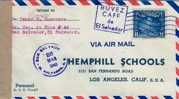 1942 , EL SALVADOR , SOBRE CIRCULADO VIA PUERTO BARRIOS , SAN SALVADOR - LOS ANGELES , CENSURA , MAT. PUBLICITARIO CAFÉ - El Salvador