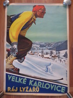 Velke Karlovice - Czechoslovakia - Big Vintage Ski Poster  - Lithography - Very Nice - 1946 - Posters