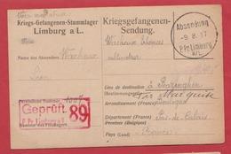 Cp Correspondance D'un Prisonnier De Guerre Au Camp De Limburg En Allemagne - 1914-18
