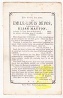 DP Emile Louis Devos ° Ieper 1854 † 1885 X Elise Matton - Images Religieuses