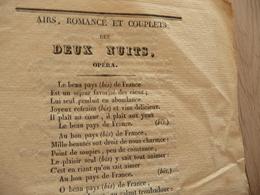 XIXème  Papier Chiffon  Paroles Airs Romance Et Couplets Des Deux Nuits Opéra XIXème - Musique & Instruments