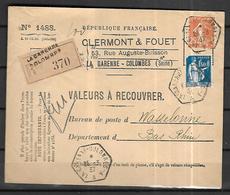 France Lettre Valeurs A Recouvrer 25 03 1937    La Garennes Colombes  Vers Wasselonne - France