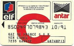 @+ Carte De Service Automobile : ELF / ANTAR (10/91) - Blanche - Frankrijk