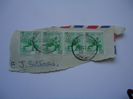 SUDAN 4 SENTANT  STAMPS ON PAPERS OLYMPIC GAMES ROME 1960  WITH POSTMARK - Soudan (1954-...)