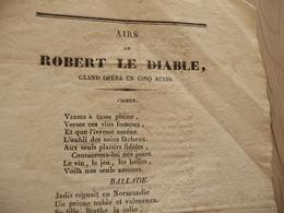 XIXème  Papier Chiffon  Paroles Airs Robert Le Diable  Opéra XIXème - Musique & Instruments