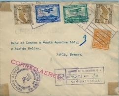 1936 , EL SALVADOR , MAGNÍFICO SOBRE CERTIFICADO A PARIS, THE ANGLO - SOUTH AMERICAN BANK LTD. , DIVERSAS MARCAS - El Salvador