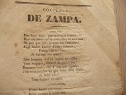 XIXème  Papier Chiffon  Paroles Couplets De Zampa  XIXème - Musique & Instruments
