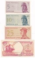 INDONESIE 4 BILLETS 5/10/25 ET 100 - Indonesia