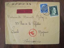 Allemagne France 1942 LAGER Siemens Censure Lettre Enveloppe Cover Guerre Deutsches Reich DR STO Censure Laval Express - Marcofilie (Brieven)