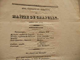 XIXème  Papier Chiffon  Paroles Airs Couplets Et Romances Maître De Chapelle Opéra   XIXème - Musique & Instruments