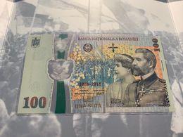 2018 Romania Roumanie Rumanien 100 Lei New Commemorative Polymer Banknote -100 Years Great Union-Folder - Roumanie