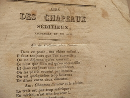 XIXème  Papier Chiffon  Paroles Airs Des Chapeaux Séditieux Vaudeville   XIXème - Musique & Instruments