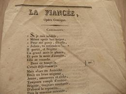 XIXème  Papier Chiffon  Paroles La Fiancée Opéra Comique   XIXème - Musique & Instruments