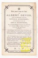 DP Albert Devos ° Avelgem 1823 † St.-Denijs Zwevegem 1886 X Nath. Xx Amélie Scherpereel - Images Religieuses