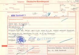Telegramm Deutsche Bundespost 6086 Riedstadt-DDR 4064 Tornau 1988 - BRD