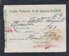 Quota Fixa De 1$00 Para Escola Primária 31 De Janeiro-Parede 02/1929.Raro.Fixed Share Of 1$00 For Primary School 1929. - Portugal