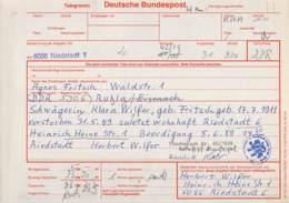 Telegramm Deutsche Bundespost 6086 Riedstadt-DDR 5906 Ruhla 1989 - BRD