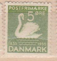 DANEMARK N° 229 5O VERT JAUNE LE VILAIN PETIT CANARD NEUF AVEC CHARNIÈRE - 1913-47 (Christian X)