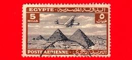 EGITTO - Usato - 1933 - Aereo Che Vola Sopra Le Piramidi Di Giza - 5 P. Aerea - Posta Aerea