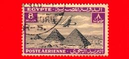 EGITTO - Usato - 1933 - Aereo Che Vola Sopra Le Piramidi Di Giza - 8 P. Aerea - Posta Aerea