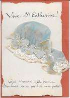 Double Bonnet Sainte CATHERINE Bleu à Dentelle Et Rubans (un Petit Rattaché Au Grand) - A Systèmes