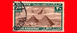 EGITTO - Usato - 1933 - Aereo Che Vola Sopra Le Piramidi Di Giza - 20 P. Aerea - Posta Aerea