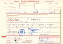 Telegramm Deutsche Bundespost 6086 Riedstadt-DDR 2510 Rostock 1989 - Covers