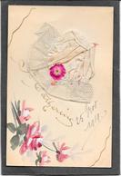 Bonnet Sainte CATHERINE Blanc, Fleurs Dessinées Main - A Systèmes