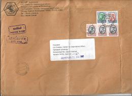 Thailand Airmail King Rama IX 4 Baht, 10 Baht, 50 Baht Postal History Cover Sent To Pakistan - Thaïlande