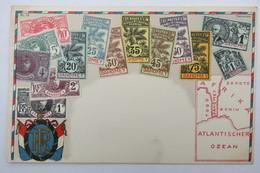 """(10/7/93) Postkarte/AK """"verschiedene Briefmarken Aus Dahomey"""" Wappen, Mit Umgebungskarte Afrika/Atlantischer Ozean, 1900 - Stamps (pictures)"""