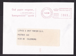 Netherlands: Cover Fragment (cut-out), 1988, Meter Cancel, Paper Recycling, Environment, Waste (minor Damage At Back) - Periode 1980-... (Beatrix)