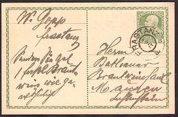 Austria Autriche Österreich: PK 5 HELLER (Type 1908) Mit O FRASTANZ 7/2/11 Nach Mauren (Fürstentum Liechtenstein) - Liechtenstein