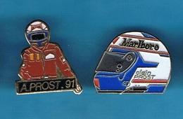 2 PIN'S //  ** ALAIN PROST / SON CASQUE / SAISON 91 ** - Car Racing - F1