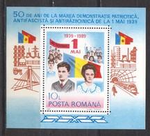 Rumänien; 1989; Michel Block 252 **; Ceausescu; 50 Jahren Mai - 1948-.... Republics